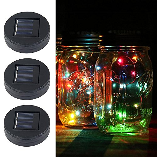 Solar Powered Mason Jar Lights,Plastic Mason Jar String Lights 20 LED Bulbs Solar Mason Jar Lids Fairy String Lights with Solar Panel for Backyard Landscape Outdoor Jar Decor(3 Pack)-Aolvo For Sale