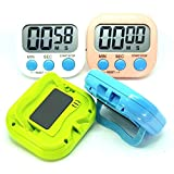 lcd digital timer - ElectPlus 4 Pack Digital Kitchen Timer Magnetic Back with Stand Loud Alarm Large LCD Display 4 Different Colors, Multi use, Ideal for Kitchen and Personal Use (Gym Workouts)