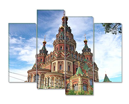 SmartWallArt - City Landscape Paintings Wall Art Decor Church of St Peter and Paul Church Peterhof Saint Petersburg Russia 4 Panels Picture Print on Canvas for Modern Home Decoration ()