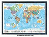 Laminated Posters Framed - World Map Polar Caps Flags - Push Pin Memo Notice Board - Black Driftwood Effect - Matt Finish - Measures 96.5 x 66 cms (38 x 26 Inches - Approx)
