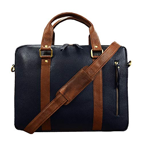 ABYS Genuine Leather Blue-Tan 15.6 inch Briefcases||Laptop Messenger & Shoulder Bags for Men and Women (B084ZJB49C) Amazon Price History, Amazon Price Tracker
