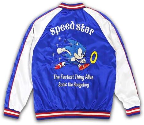 SONIC Speed Star スカジャン ソニックザヘッジホッグ SEGA ゲーム スカジャン (XL, ブルー/ホワイト.)