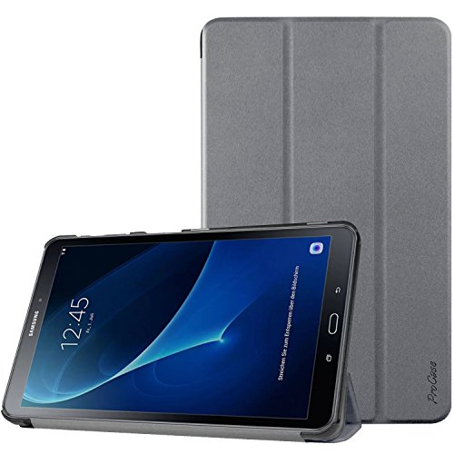 ProCase Galaxy Tab A 10.1 Case SM-T580 T585 T587 2016 Released, Slim Smart Cover Stand Folio Case for Samsung Galaxy Tab A 10.1 Inch Tablet -Gray