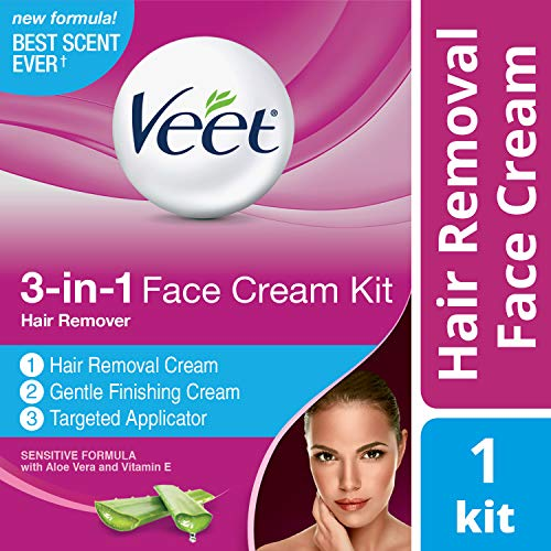 Veet 3-in-1 Face Cream Hair Remover Kit (2 x 1.69oz), Sensitive Formula With Aloe Vera & Vitamin E