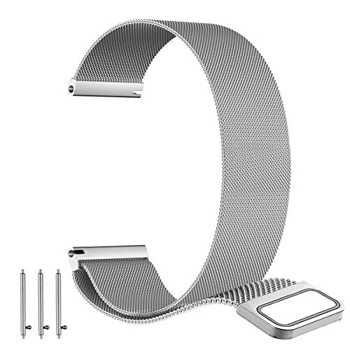 22mm 20mm 18mm Milanese Loop Band - Fully Magnetic Closure Clasp Replacement Mesh Stainless Steel Metal Bracelet Strap (18MM, Silver-Large)