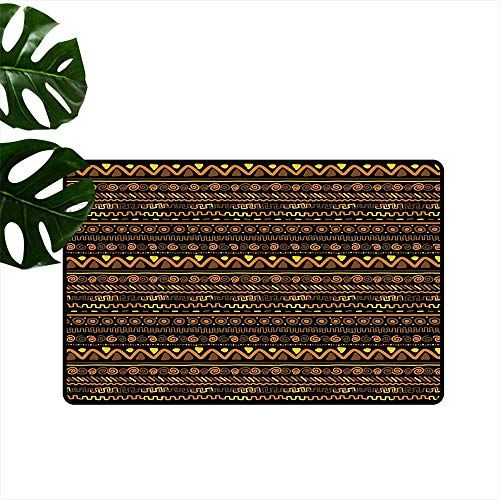 "PEONIY&HOME African,Machine Washable Carpet Chevron Zigzag Circles and Spirals Primitive Vintage Art Design Oriental Doodle Bathroom Floor Door Mat W 20"" x L 31"""