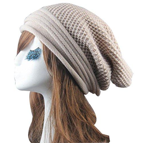 Goddessvan Hot Sale Women Winter Knit Skull Cap Warm Hip-Hop Ski Baggy Beanie Hat Cap (Beige) (Visor Beanie Case)