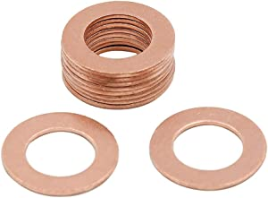X AUTOHAUX 12mm Inner Dia Copper Crush Washers Flat Car Sealing Gaskets Plate Rings Universal 10pcs