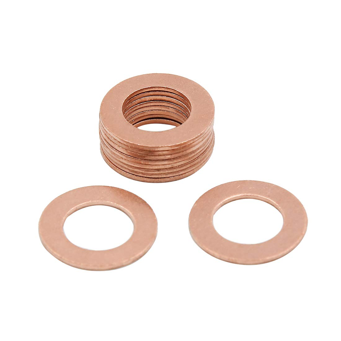 X AUTOHAUX 12mm Inner Dia Copper Crush Washers Flat Car Sealing Gaskets Plate Rings 10pcs