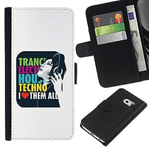 KingStore / Leather Etui en cuir / Samsung Galaxy S6 EDGE / Trance Electro House Techno Amor