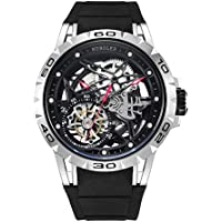 Huboler Tourbillon Watches Wrist Watches Skeleton Mechanical Stainless Steel  Executive Automatic Luxury Jewels Precise Movement for Men (Silver Black)