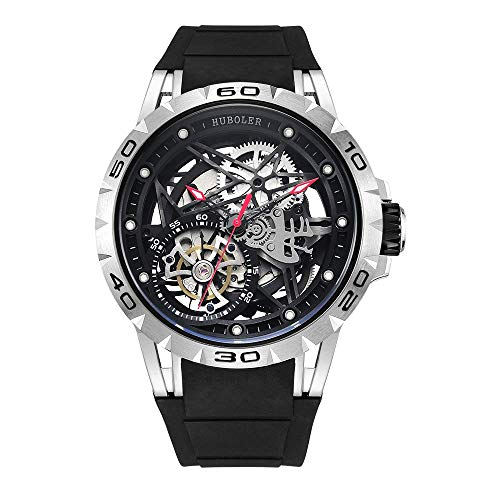 Huboler Tourbillon Watches Wrist Watches Skeleton Mechanical Stainless Steel  Executive Automatic Luxury Jewels Precise Movement for Men (Silver ()