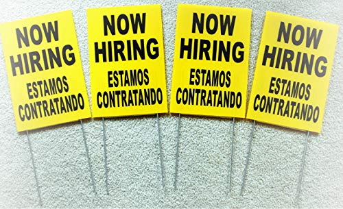 NewSSign (4) Now Hiring ESTAMOS CONTRATANDO Plate Novelty Coroplast Signs with Stakes 8x12 Spanish - for Home Yard Garage Shop Office Man Cave Business Decor -