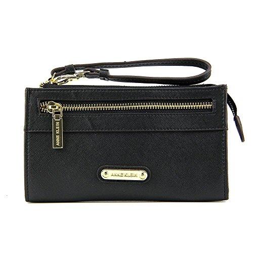 Anne Klein Jazzy Wristlet Womens Black Wallet Faux Leather Wristlet