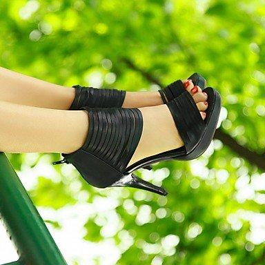 LvYuan Mujer Sandalias Semicuero PU Verano Otoño Paseo Cremallera Tacón Stiletto Negro Beige 10 - 12 cms beige