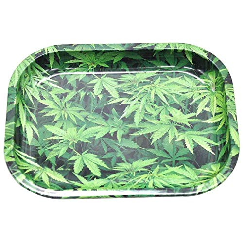(Rx Rolling Tray Metal Rolling Tray Non Flexible Sturdy and Durable Smoothly Curved Edges Length 7.1 Inch, Width: 5.5 Inch, Net Weight: 2.5 Ounces Per Pc (Leave)