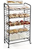 "Fixture Displays 29.0"" x 51.0"" x 16.0"" Bakery Display Rack w/ Wheels, 5 Adjustable Shelves & 2 Sign Holders - Black 19409 19409"