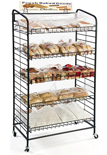Fixture Displays 29.0' x 51.0' x 16.0' Bakery Display Rack w/ Wheels, 5 Adjustable Shelves & 2 Sign Holders - Black 19409 19409