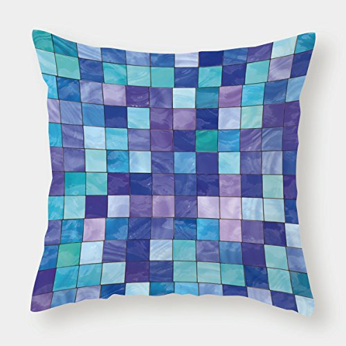 40 Inch Stained Glass Shade - iPrint Cotton Linen Throw Pillow Cushion Cover,Navy and Teal,Stained Glass Inspired Design Checkered Pattern Dreamy Fantasy Colors Shades Decorative,Multicolor,Decorative Square Accent Pillow Case