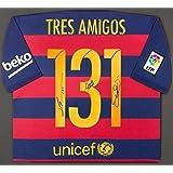 MESSi, NEYMAR, SUAREZ TRES AMIGOS Autographed 131 FC Barcelona Home Shirt ICONS - Autographed Soccer Jerseys