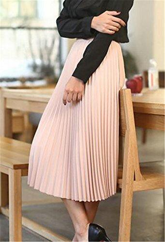 Jupe Jupe Mi Jupe Jupe Unie Mousseline En Pliss Pink Jupe Dcontracte Couleur Femme Jupe Taille Haute BESTHOO Longue SA0qwvxc