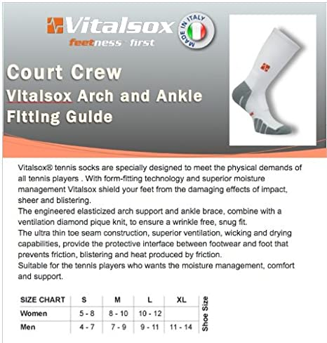 Gym Sports VT0810T Italian Classic Odor Resistant Silver Drystat Compression Crew Socks VT 0810T Vitalsox Tennis