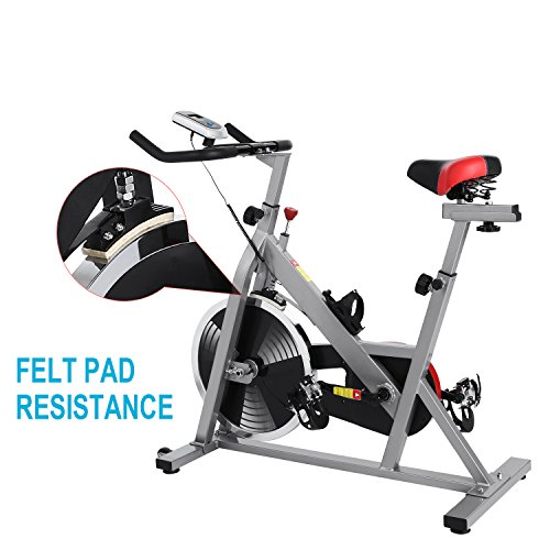 Pro Indoor Cycling Bike Exercise Bike Stationary Trainer (Sliver)