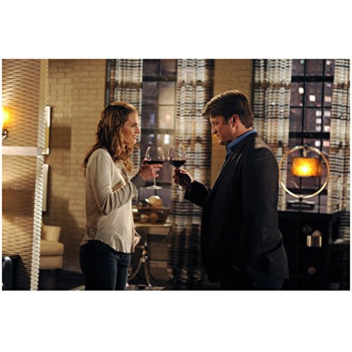 Glass Moment Wine (Castle (TV Series 2009 - 2016) 8 inch x 10 inch PHOTOGRAPH Nathan Fillion & Stana Katic Celebrating Moment w/Glass of Wine Pose 3 kn)