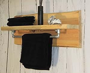 Shabby Vintage Madera Rústico baño Estantería Toalla Toallero Natural