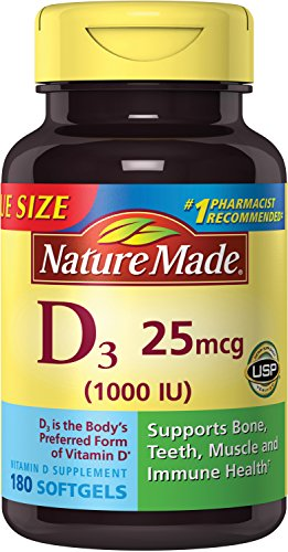 Nature Made Vitamin D3 1000 IU Softgels 100 Ct (Packaging may vary)