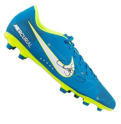 311d0d944 Neymar Jr Signed Football Boot - Blue Nike Mercurial NJR Autograph Cleat -  Autographed Soccer Cleats at Amazon s Sports Collectibles Store