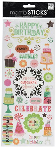 Happy Birthday Scrapbooking - MAMBI Specialty Stickers 5-Inch by 12-Inch Sheet, Happy Birthday W/Glitter & Jewels