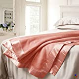 ElleSilk Mulberry Silk Blanket, Silk Bed Blanket, Premium Quality Long Strand Mulberry Silk, Sumptuously Soft, Rose Pink, Queen