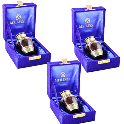 Small Keepsake Urns Set of 3 – Cremation Keepsakes for Ashes – Mini Funeral Urns for Human Ashes Adult- Fits a Small Amount of Cremated Remains- Display Burial Urn at Home or Office Tranquility Brown