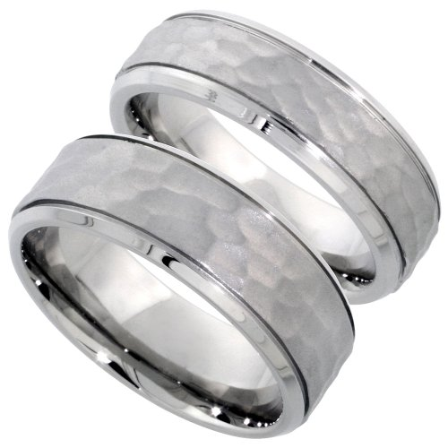 Stainless Steel Hammered Wedding Ring Set for Him and Her 8 & 6 mm, ladies size 5 ()