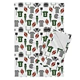 Roostery Football Football Fabric American Football College Football Sports Boys Tea Towels Football Fabric College by Charlottewinter Set of 2 Linen Cotton Tea Towels