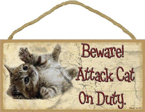 (Beware Attack Cat on Duty Rolling Kitten Cat Sign Plaque 5