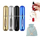 perfume atomizer bottle - 5ML Portable Bottom Refillable Perfume Atomizer Spray Perfume Bottle Set for Travel (4) (Kit1)