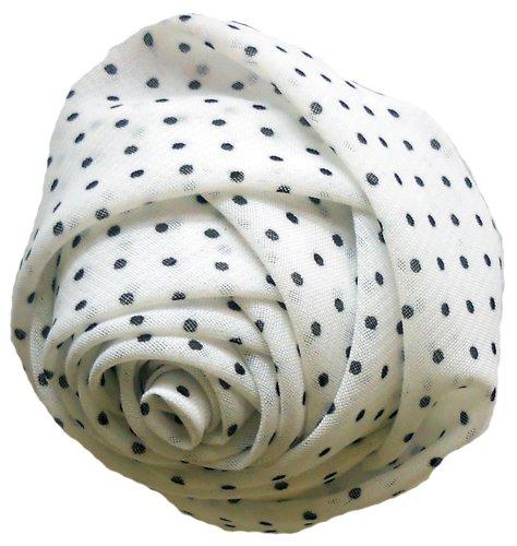 Crafts Rosette - Venus Ribbon F01218-A Sheer Polka Dot Rosette, White/Black