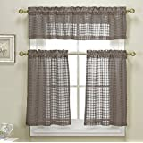 Home Maison - Cleo Faux Linen Plaid Checkered Kitchen Tier & Valance Set   Small Window Curtain for Cafe, Bath, Laundry, Bedroom - (Taupe)