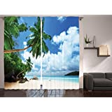 Ambesonne Paradise Shores Decor Collection, Beach on Mahe Island in Seychelles Holiday Picture Print, Window Treatments, Living Kids Girls Room Curtain 2 Panels Set, 108 X 90 Inches, Blue Ivory Green