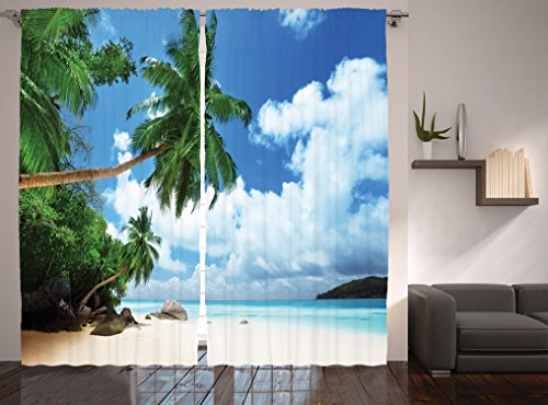 Paradise Shores Curtains by Ambesonne, Beach On Mahe Island In Seychelles, Window Drapes 2 Panel Set for Living Room Bedroom, 108W X 90L Inches