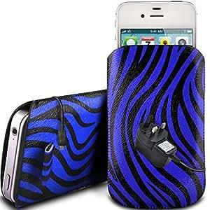 Online-Gadgets UK - Huawei Ascend Y330 protectora de cuero PU Zebra Diseño deslizamiento lengüeta de tracción del cable en caso de la bolsa con cierre rápido y la red de CE cargador - Azul