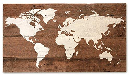 Reclaimed wood world map medium - Painted Rustic Wood
