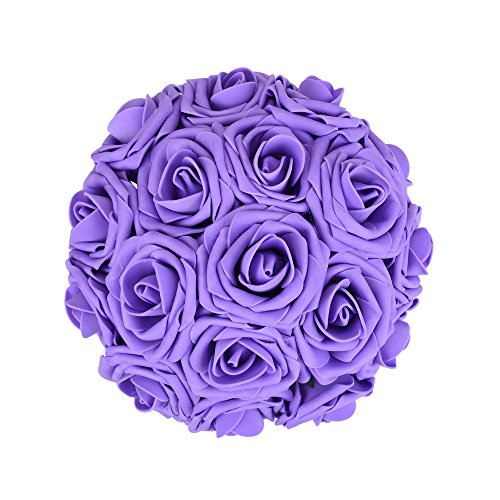Febou Artificial Flowers, 50pcs Real Touch Artificial Foam Roses Decoration DIY for Wedding Bridesmaid Bridal Bouquets Centerpieces, Party Decoration, Home Display, Office Decor (Purple) (Purple Centerpieces Wedding)