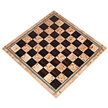Atlas Tournament Chess Board with Inlaid Burl and Ebony Wood - Board Only - 21 Inch by Best Chess Set