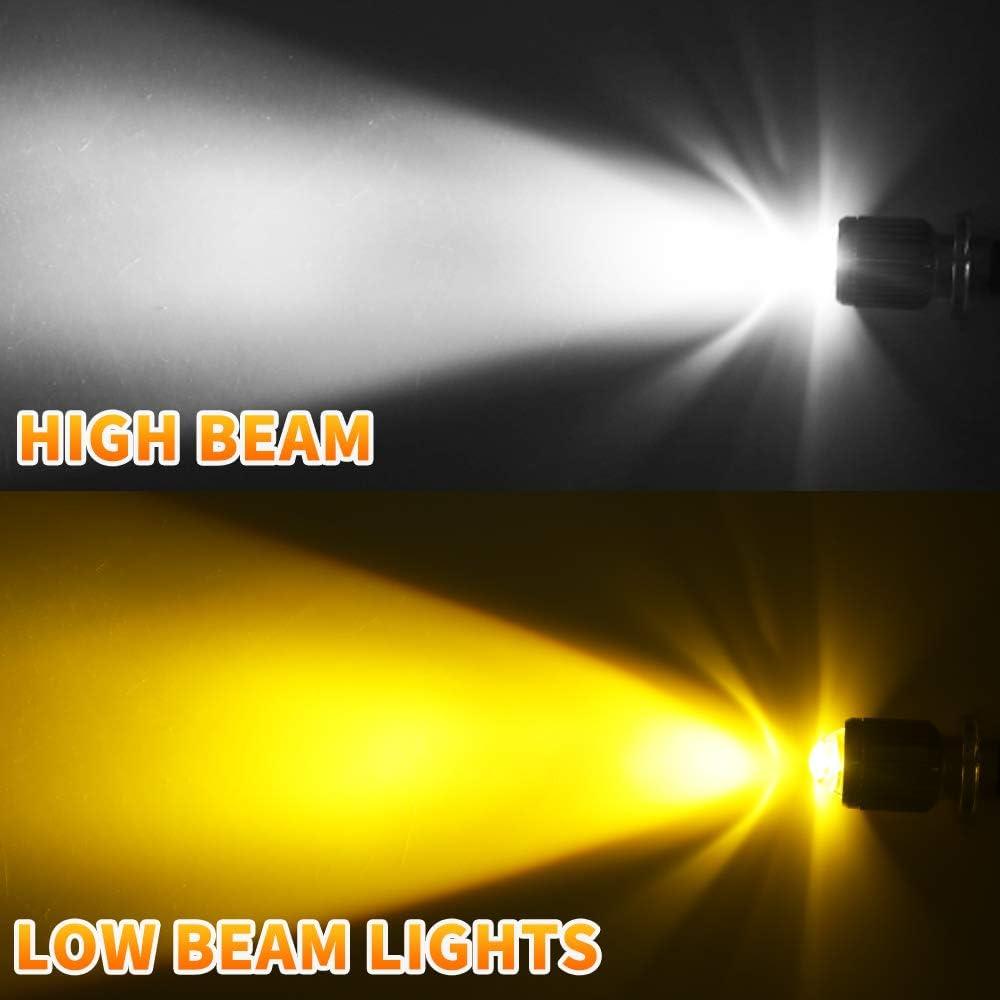 Super Bright Upgrade fit for Su-zuki Ka-wasaki B-M-W Ya-maha Hon-da H4 LED Bulb Motorcycle Headlights White//Yellow Lamp