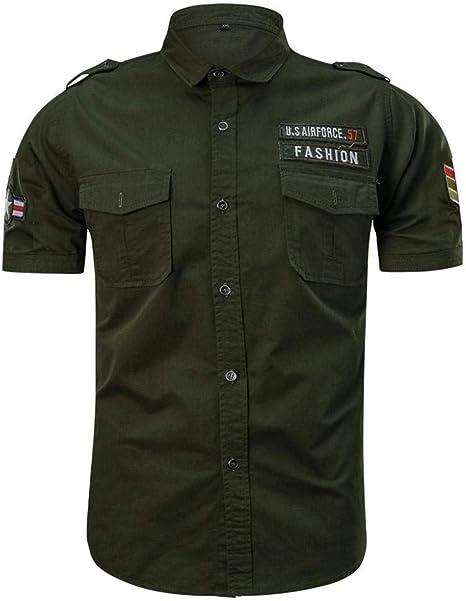 Firally Uomo Camicia,Taglia Grossa Casual Moda Militare Colore Puro Tasca Manica Corta Sciolto T Shirt Tops,Camicie Casual Camicie Classiche Affari