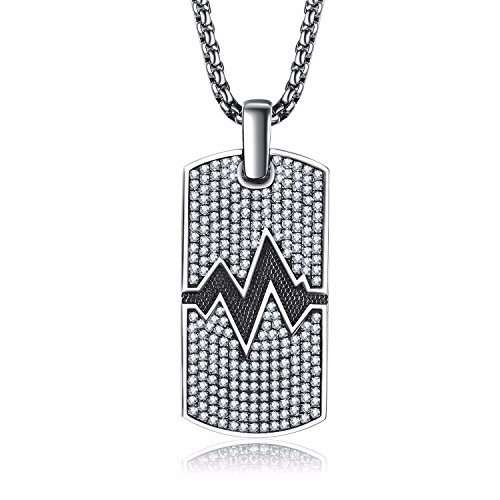 Caperci Sterling Silver Pulse Accent Iced Out Dog Tag Pendant Necklace for Men, 28'' (Silver Pendant Dog Sterling)