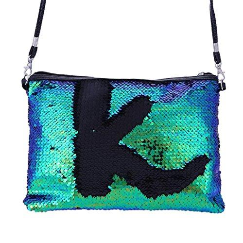 ZYooh Fashion Women Girls Handbag Sequins Tote Purse Messenger Phone Holder Bag Crossbody Shoulder Bags (Green) by iLH_ Crossbody Bag (Image #7)